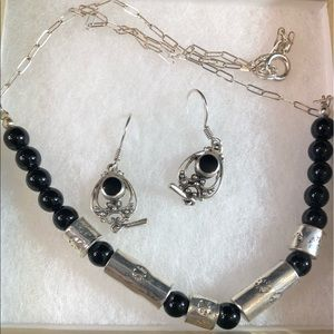 Black Onyx Sterling Silver Earrings and Necklace